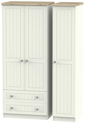 Rome 3 Door 2 Left Drawer Wardrobe - Bordeaux Oak and Cream Ash