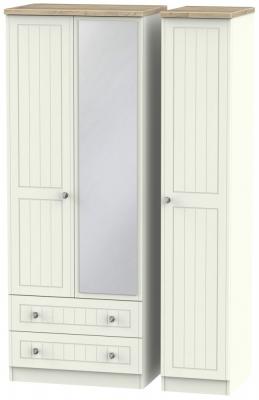 Rome 3 Door 2 Left Drawer Tall Combi Wardrobe - Bordeaux Oak and Cream Ash