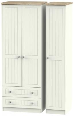 Rome 3 Door 2 Left Drawer Tall Wardrobe - Bordeaux Oak and Cream Ash