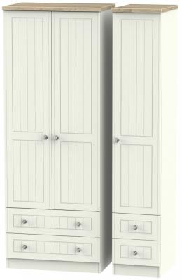 Rome 3 Door 4 Drawer Tall Wardrobe - Bordeaux Oak and Cream Ash