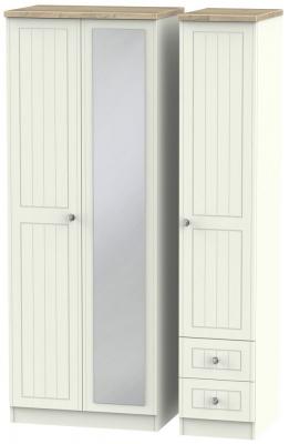 Rome 3 Door 2 Right Drawer Tall Combi Wardrobe - Bordeaux Oak and Cream Ash