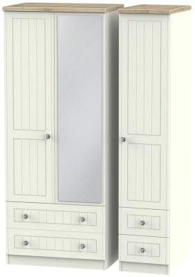 Rome 3 Door 4 Drawer Combi Wardrobe - Bordeaux Oak and Cream Ash