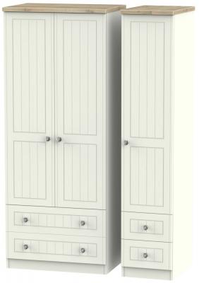 Rome 3 Door 4 Drawer Wardrobe - Bordeaux Oak and Cream Ash