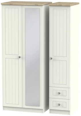 Rome 3 Door 2 Right Drawer Combi Wardrobe - Bordeaux Oak and Cream Ash