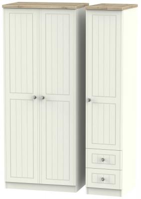 Rome 3 Door 2 Right Drawer Wardrobe - Bordeaux Oak and Cream Ash