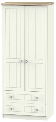 Rome 2 Door 2 Drawer Wardrobe - Bordeaux Oak and Cream Ash