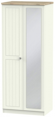 Rome 2 Door Mirror Wardrobe - Bordeaux Oak and Cream Ash