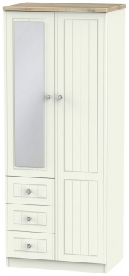 Rome 2 Door 3 Drawer Combi Wardrobe - Bordeaux Oak and Cream Ash