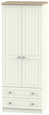 Rome 2 Door 2 Drawer Tall Wardrobe - Bordeaux Oak and Cream Ash