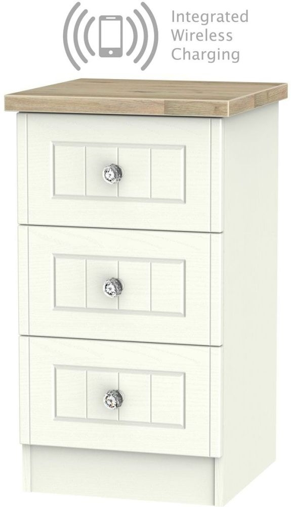 Rome 3 Drawer Bedside Cabinet with Integrated Wireless Charging - Bordeaux Oak and Cream Ash
