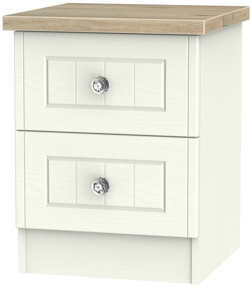 Rome 2 Drawer Bedside Cabinet - Bordeaux Oak and Cream Ash