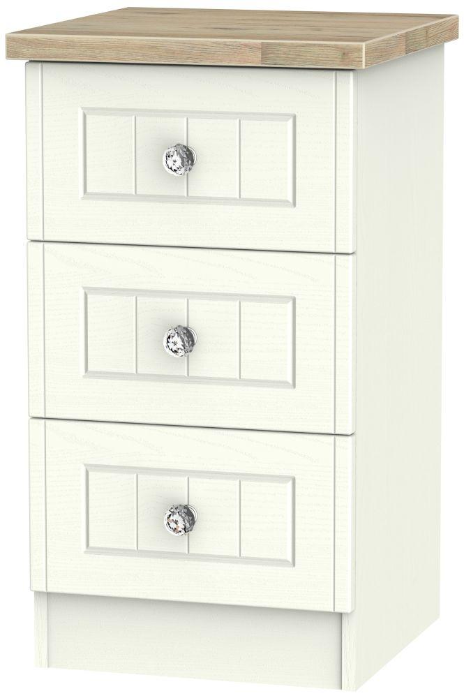 Rome 3 Drawer Bedside Cabinet - Bordeaux Oak and Cream Ash