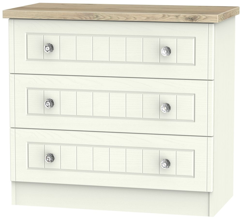 Rome 3 Drawer Chest - Bordeaux Oak and Cream Ash
