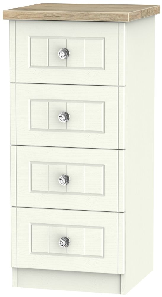Rome 4 Drawer Tall Chest - Bordeaux Oak and Cream Ash