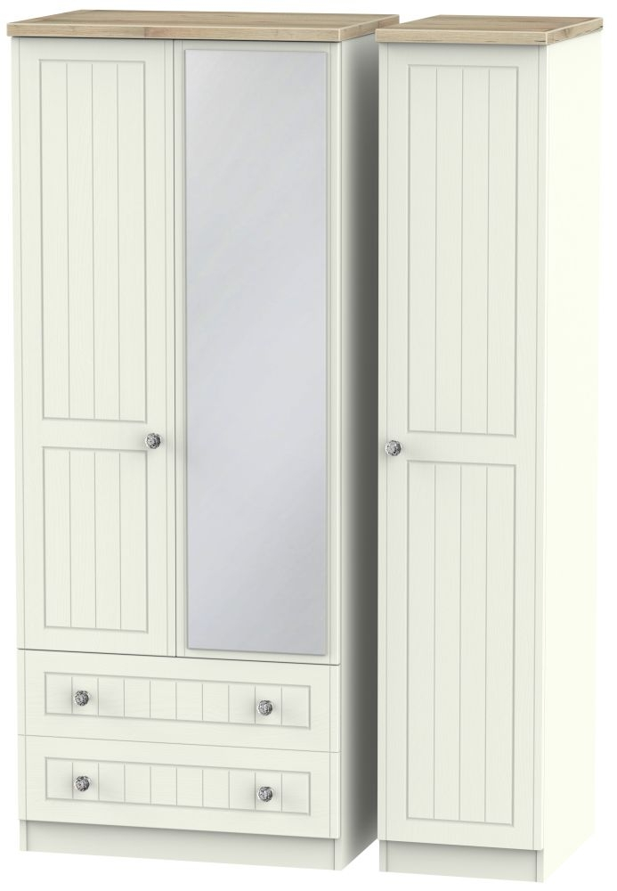 Rome 3 Door 2 Left Drawer Combi Wardrobe - Bordeaux Oak and Cream Ash