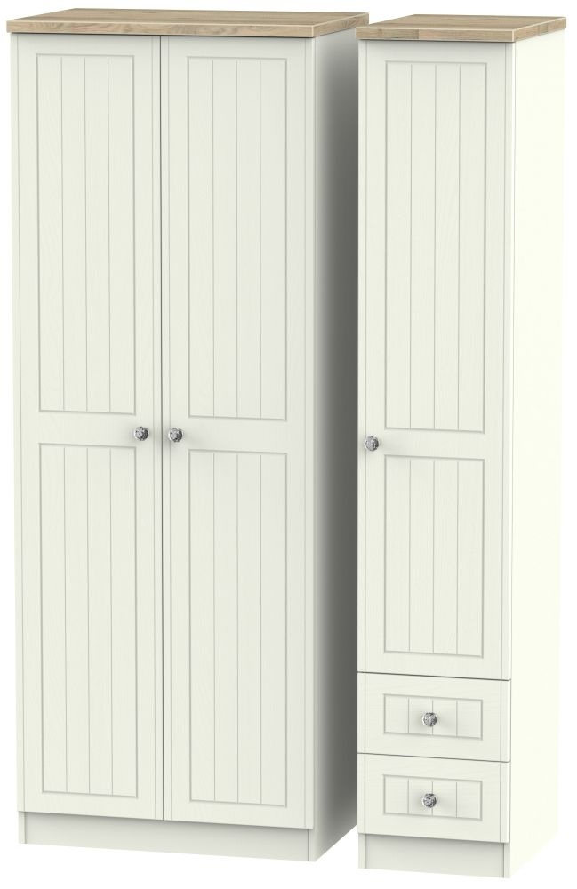Rome 3 Door 2 Right Drawer Tall Wardrobe - Bordeaux Oak and Cream Ash