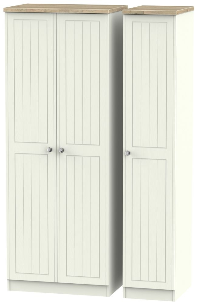 Rome 3 Door Tall Wardrobe - Bordeaux Oak and Cream Ash