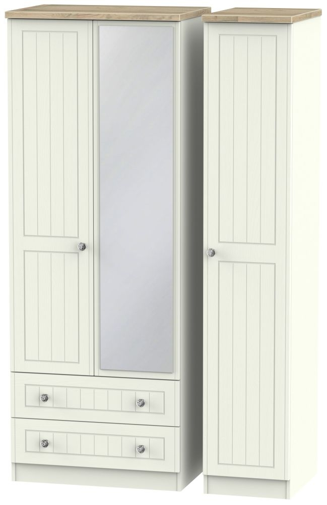 Rome 3 Door 2 Left Drawer Tall Combi Wardrobe - Bordeaux Oak and Cream Ash