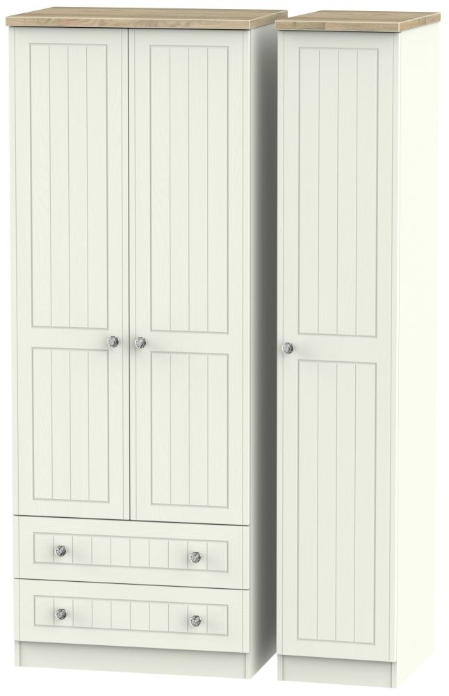 Rome 3 Door 2 Left Drawer Tall Wardrobe - Bordeaux Oak and Cream Ash