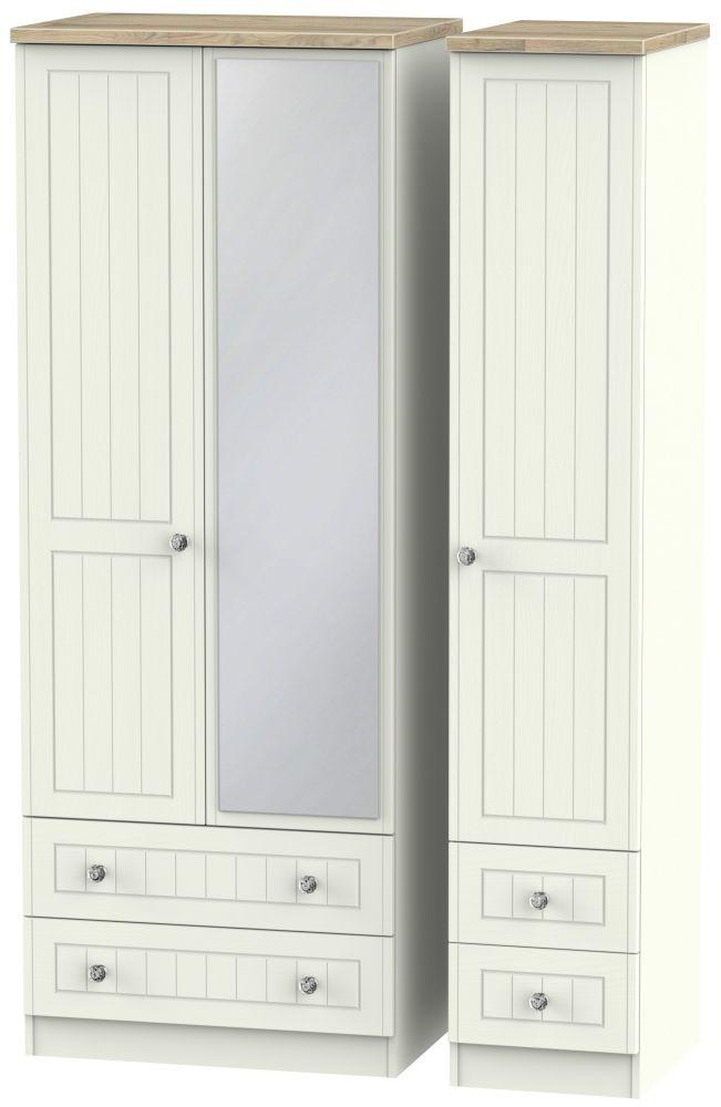 Rome 3 Door 4 Drawer Tall Combi Wardrobe - Bordeaux Oak and Cream Ash
