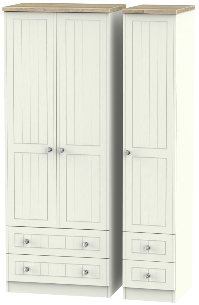 Rome 3 Door 4 Drawer Tall Wardrobe - Bordeaux Oak and Cream Ash