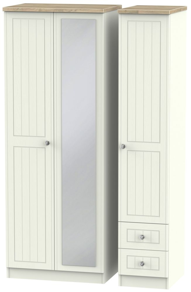 Rome 3 Door 2 Right Drawer Tall Combi Wardrobe - Bordeaux Oak and Cream Ash