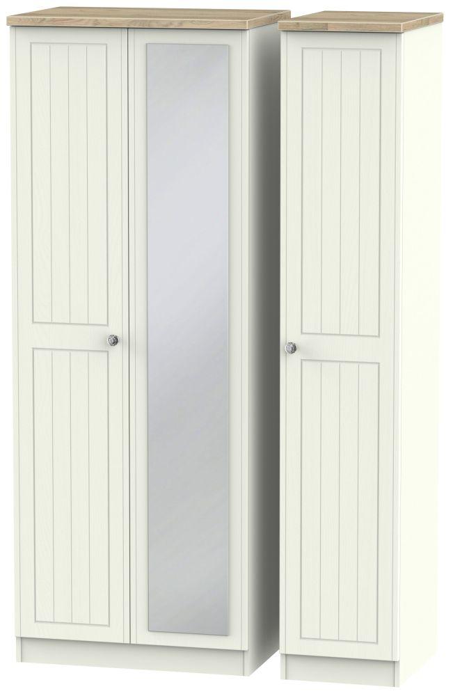 Rome 3 Door Tall Mirror Wardrobe - Bordeaux Oak and Cream Ash