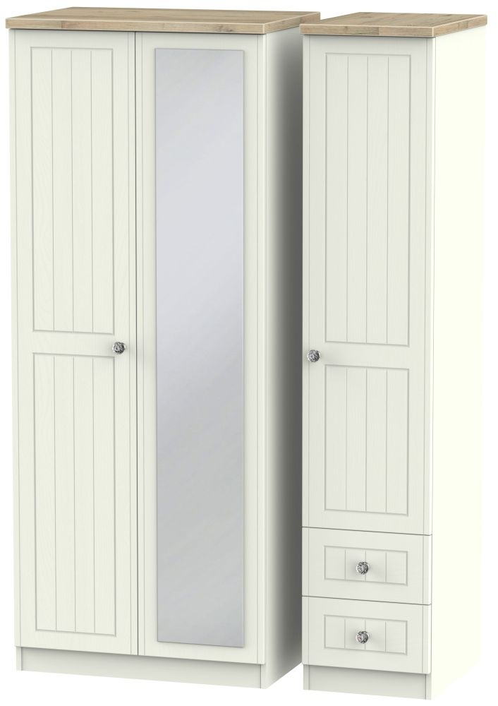 Rome 3 Door 2 Right Drawer Combi Wardrobe - Bordeaux Oak and Cream Ash