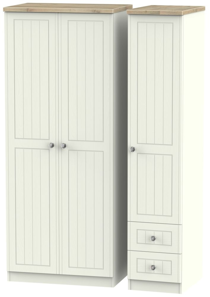 Rome 3 Door 2 Right Drawer Wardrobe - Bordeaux Oak and Cream Ash