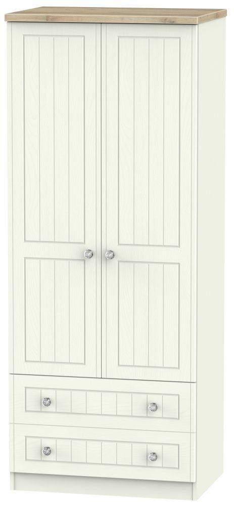Rome 2 Door 2 Drawer Wardrobe - Bordeaux Oak and Cream Ash