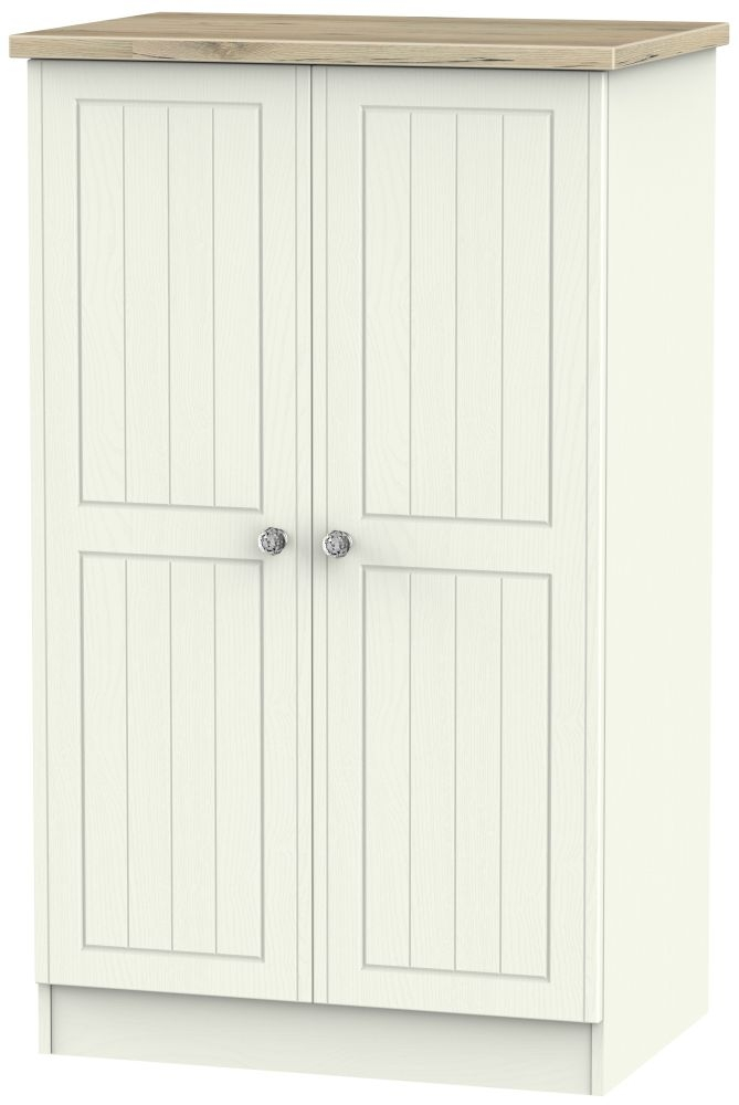 Rome 2 Door Midi Wardrobe - Bordeaux Oak and Cream Ash
