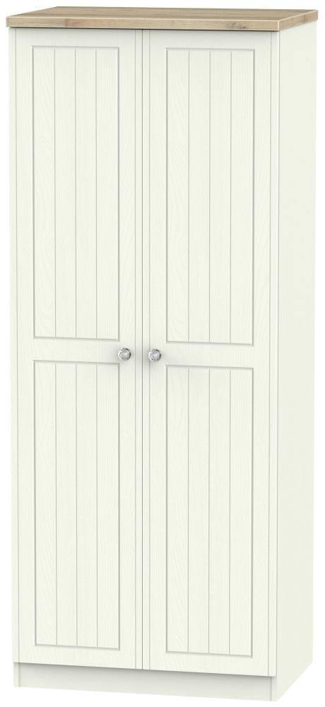 Rome 2 Door Wardrobe - Bordeaux Oak and Cream Ash