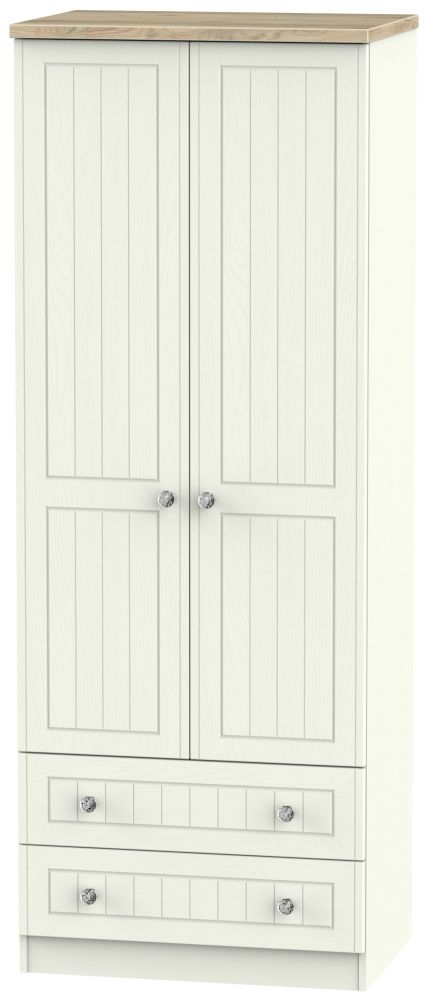 Rome 2 Door 2 Drawer Tall Wardrobe - Bordeaux Oak and Cream Ash