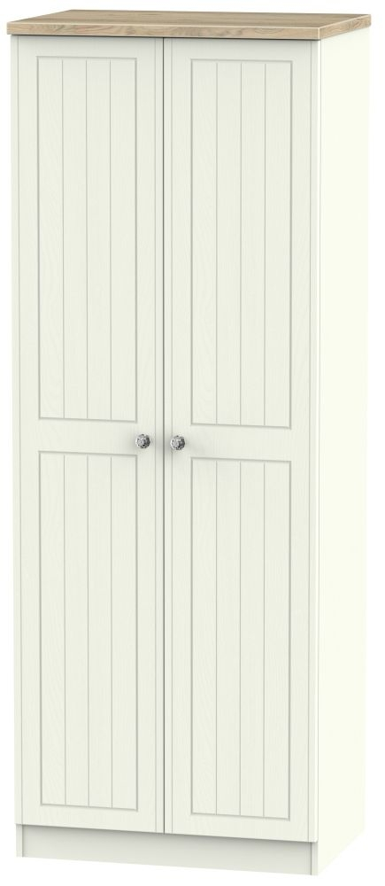Rome 2 Door Tall Hanging Wardrobe - Bordeaux Oak and Cream Ash