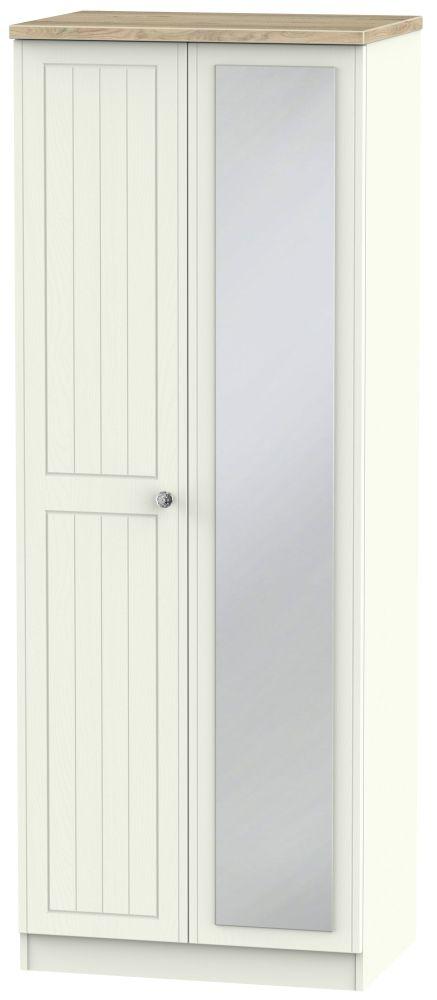 Rome 2 Door Mirror Tall Wardrobe - Bordeaux Oak and Cream Ash