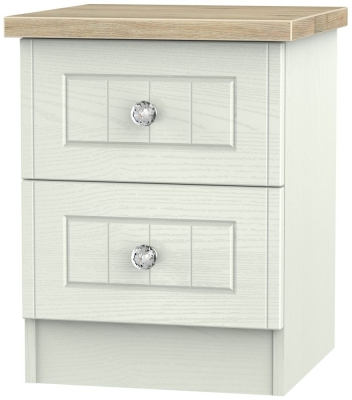 Rome 2 Drawer Bedside Cabinet - Bordeaux Oak and Kaschmir Ash