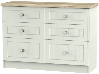 Rome 6 Drawer Midi Chest - Bordeaux Oak and Kaschmir Ash