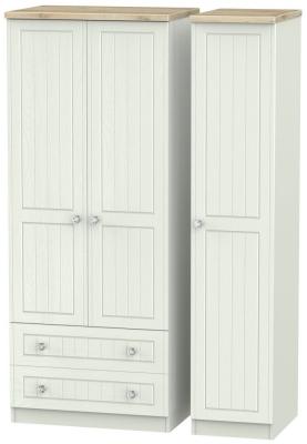 Rome 3 Door 2 Left Drawer Wardrobe - Bordeaux Oak and Kaschmir Ash