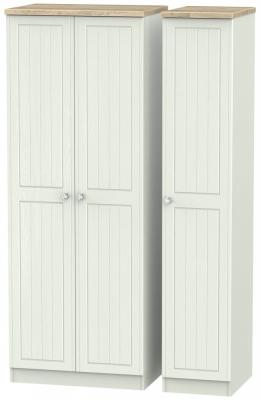 Rome 3 Door Tall Wardrobe - Bordeaux Oak and Kaschmir Ash