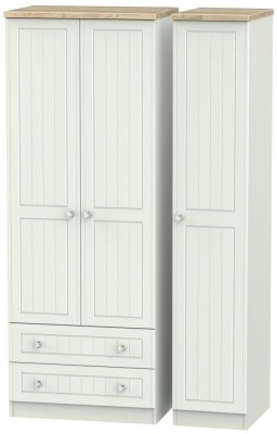 Rome 3 Door 2 Left Drawer Tall Wardrobe - Bordeaux Oak and Kaschmir Ash