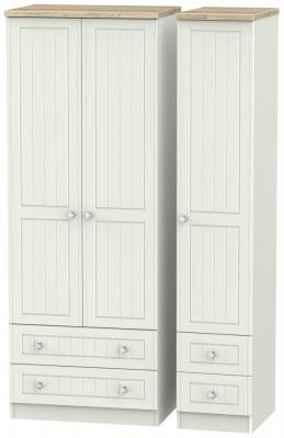 Rome 3 Door 4 Drawer Tall Wardrobe - Bordeaux Oak and Kaschmir Ash