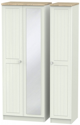 Rome 3 Door Tall Mirror Wardrobe - Bordeaux Oak and Kaschmir Ash