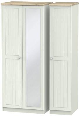 Rome 3 Door Mirror Wardrobe - Bordeaux Oak and Kaschmir Ash