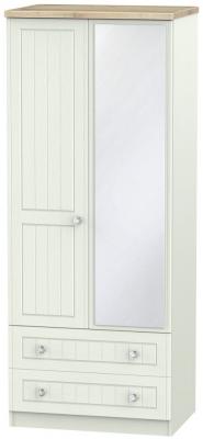 Rome 2 Door 2 Drawer Combi Wardrobe - Bordeaux Oak and Kaschmir Ash