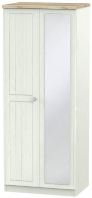 Rome 2 Door Mirror Wardrobe - Bordeaux Oak and Kaschmir Ash