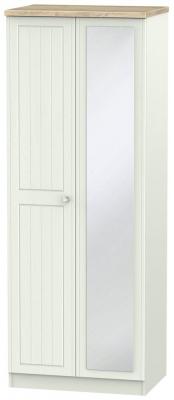 Rome 2 Door Tall Mirror Wardrobe - Bordeaux Oak and Kaschmir Ash