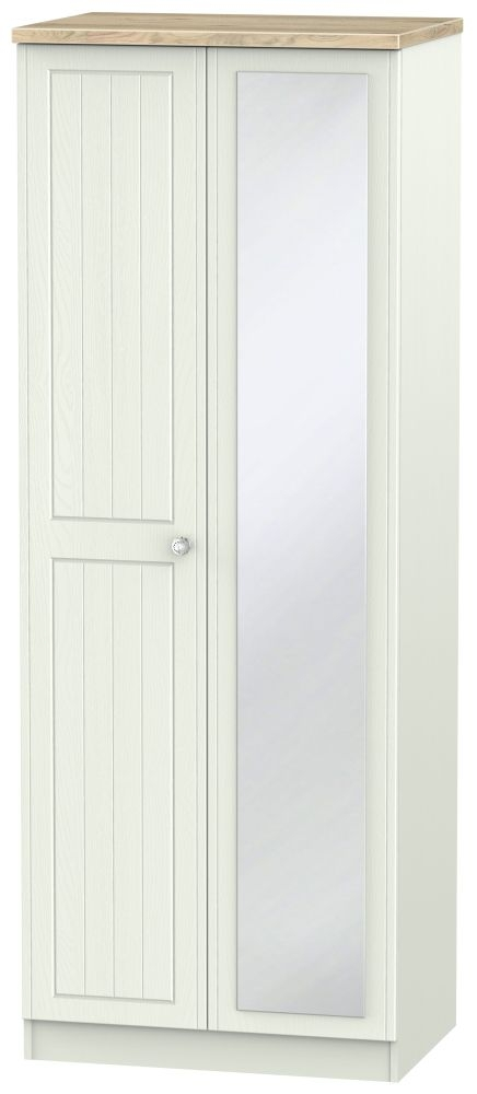 Rome 2 Door Tall Mirror Wardrobe - Bordeaux Oak and Kaschmir Ash