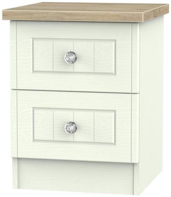 Rome 2 Drawer Bedside Cabinet - Bordeaux Oak and Porcelain Ash
