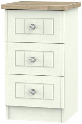 Rome 3 Drawer Bedside Cabinet - Bordeaux Oak and Porcelain Ash
