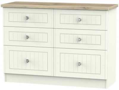 Rome 6 Drawer Midi Chest - Bordeaux Oak and Porcelain Ash